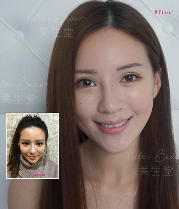 模特兒Leanna 劉沁洗眉重做(即拍)前後效果圖